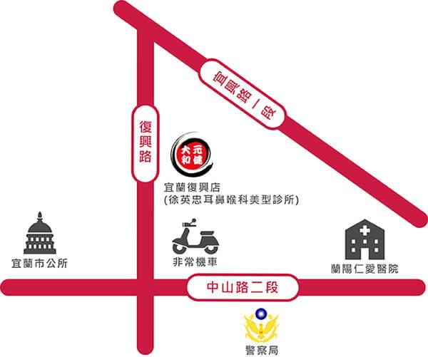 元健助聽器宜蘭復興門市-徐英忠耳鼻喉科美形診所-路線圖