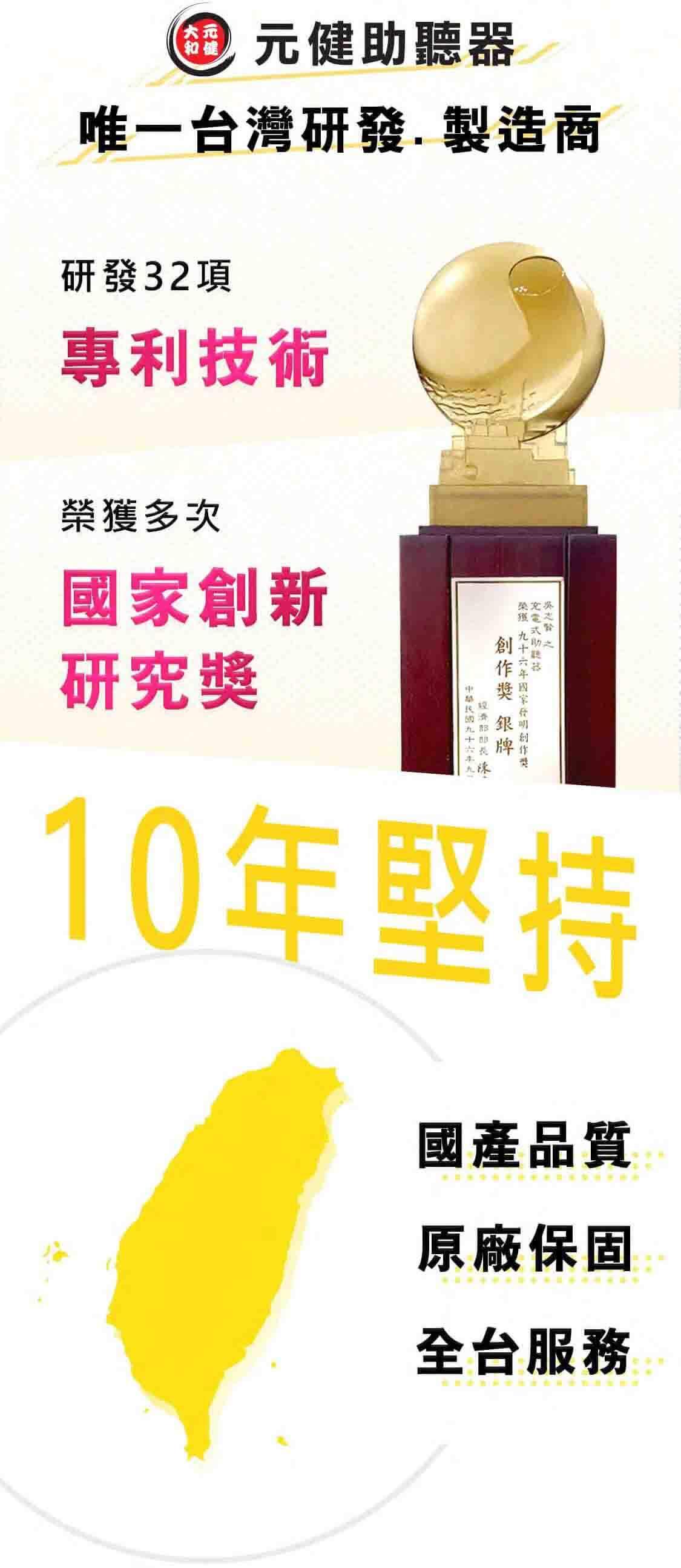 元健助聽器是台灣唯一自行研發、製造助聽器的品牌擁有32項專利技術並榮獲無數國家創新發明研究獎